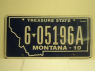 2010 MONTANA Treasure State License Plate 6 05196A