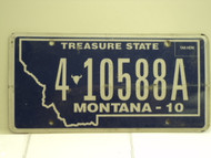 2010 MONTANA Treasure State License Plate 4 10588A