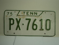 1975 TENNESSEE License Plate PX 7610
