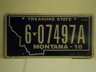 2010 MONTANA Treasure State License Plate 6 07497A
