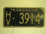 1964 KANSAS License Plate HV 3914