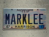 2011 MISSISSIPI Vanity License Plate MARKLEE