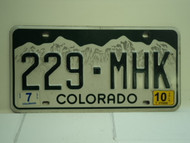 2010 COLORADO License Plate 229 MHK