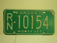 1970 KANSAS Midway USA License Plate RN 10154