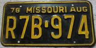 1978 Aug Missouri R7B-974 License Plate DMV Clear