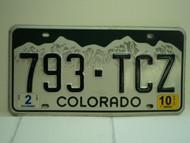 2010 COLORADO License Plate 793 TCZ