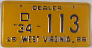 1986 West Virginia Dealer D 34 113 License Plate
