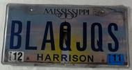 2011 Dec Mississippi Vanity License Plate BLAQJQS