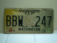 2003 MISSISSIPPI Magnolia License Plate BBW 247