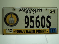 2011 MISSISSIPPI Southern Miss University License Plate 9560S