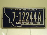 2010 MONTANA Treasure State License Plate 7 12244A