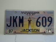 2012 MISSISSIPPI Lighthouse License Plate JKM 609