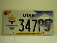 UTAH Salt Lake City Winter Olympics 2002 License Plate 347P5 1