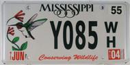2004 Jun Mississippi Y085 WH License Plate