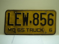 1965 Missouri Truck 6 License Plate LEW 856 DMV CLEAR