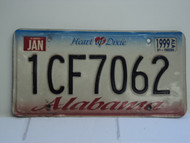 1999 ALABAMA Heart of Dixie License Plate 1CF7062