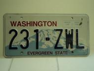 WASHINGTON Evergreen State License Plate 231 ZWL