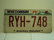 WISCONSIN America's Dairyland License Plate RYH 748