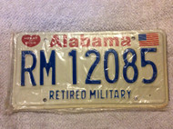 Alabama Retired Military RM 12085 License Plate