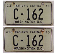 PAIR 1970 Washington DC C-162 License Plates