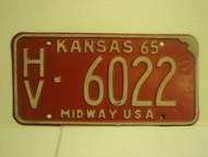 1965 KANSAS Midway USA License Plate 6022