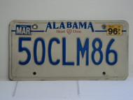 1996 ALABAMA Heart of Dixie License Plate 50CLM86