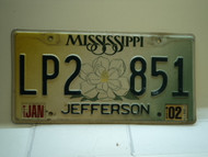 2002 MISSISSIPPI Magnolia License Plate LP2 851