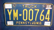 1997 Sep Pennsylvania YM-00764 Truck License Plate