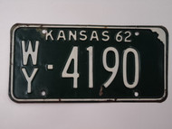 1962 KANSAS License Plate WY 4190