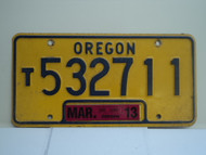 2013 OREGON Truck License Plate T532711