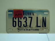 2008 IOWA Motorcycle License Plate 6637 LN