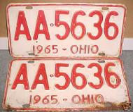 PAIR 1965 Ohio License Plates AA 5636