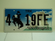 WYOMING Bucking Bronco Devils Tower Truck License Plate 4 19FE 1