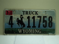 2012 Wyoming Truck License Plate 4 11758