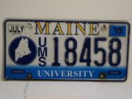 2013 MAINE UMS University License Plate 18458