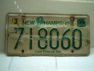 1999 NEW HAMPSHIRE Live Free or Die License Plate 718060
