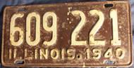 1941 Illinois 609 221 License Plate