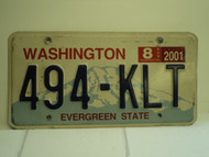 2001 WASHINGTON Evergreen State License Plate 494 KLT