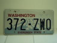 WASHINGTON Evergreen State License Plate 372 ZWO