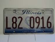 ILLINOIS Land of Lincoln License Plate L82 0916