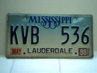 1998 MISSISSIPPI Magnolia License Plate KVB 536