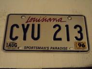 1996 1998 LOUISIANA Sportsman's paradise License Plate CYU 213