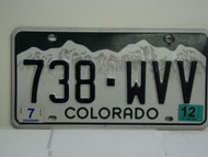 2012 COLORADO License Plate 738 WVV