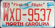 2008 May North Carolina License Plate WXD-9537