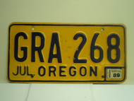 1989 OREGON License Plate GRA 268