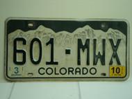 2010 COLORADO License Plate 601 MWX