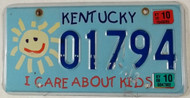 2009 2010 Kentucky I care about Kids License Plate