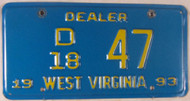 1993 West Virginia Dealer D 18 47 License Plate
