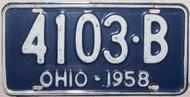 1958 Ohio 4103-B License Plate