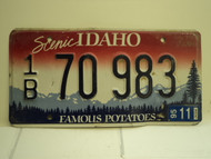 1995 IDAHO Famous Potatoes License Plate 1B 70 983